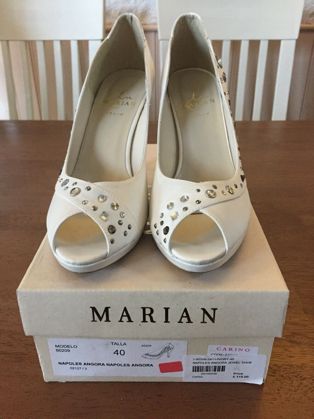 Ivory Heels With Diamanté Detail New By Marian Size 6 Eu39