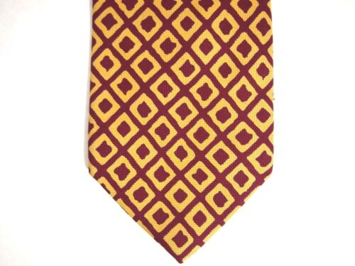Coach Mens Necktie Tie Red Mustard Yellow Geometri