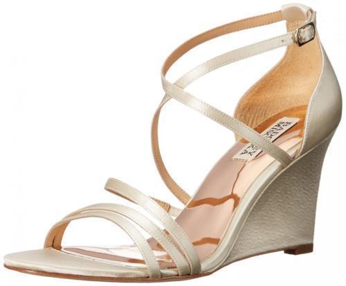 185 Dimensione 8 8 8 Badgley Mischka Bonanza Ivory Wedge Strappy Sandals donna scarpe NEW 4625e5