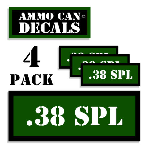 """38 SPL Ammo Can Decals 38 Special Ammo Can Labels  3/""""x1.15/"""" 4 pack Stickers GR"""