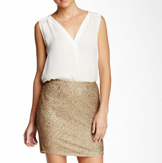 NWT  Joie Bricia Embellished Silk Mini Skirt Antique gold Beads Sequins M 8