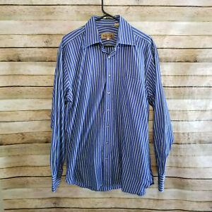 Paul-Stuart-Mens-Long-Sleeve-Blue-Green-Striped-Button-Down-Shirt-Size-Large-EUC