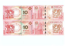Macau Year of the Mokey Zodiac Commemorative Note pair Same Number UNC 2016