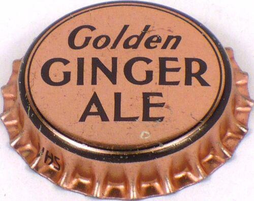 Unused 1950s Metallic Pink GOLDEN GINGER ALE SODA Cork Crown Bottle Cap