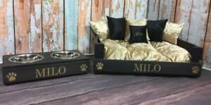 Oreiller brodé personnalisé pour lit et bols pour chat noir et or