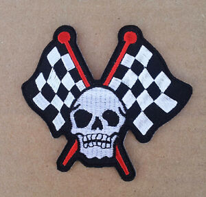 CHECKERED FLAGS SKULL EMROIDERED 3 INCH MC BIKER PATCH