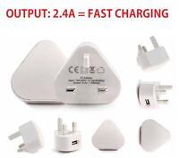 2.4A USB Mains Charger,Wall Plug for HTC M9/M8/M8 Mini/M7/LG G4/G3/G2/G1/G3 Mini