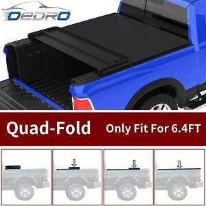 OEDRO Four Fold Tonneau Cover Truck Bed 6.4ft for 2002-2021 Dodge Ram 1500 2500