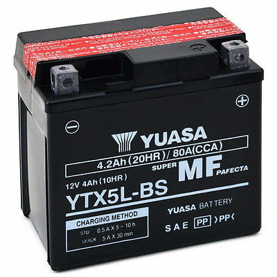Adly Rs Supersonic Atv 50 2006-2008 Batteria Yuasa Ytx5l-bs 12v/4ah In Molti Stili