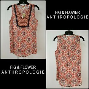 Fig-and-Flower-Anthropologie-Women-Sleeveless-Tank-Top-Blouse-Size-Small-Nwt