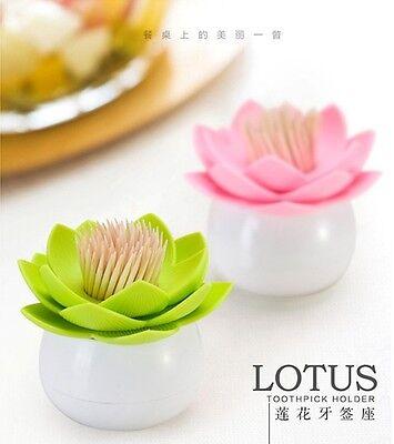 Lotus Kitchen Decor Toothpick Cotton Bud Swab Holder Storage Box 4 Colors Pick