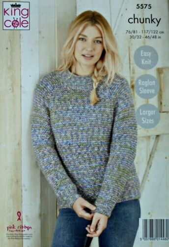 KNITTING PATTERN Ladies Easy Knit Long Jacket and Jumper Shadow Chunky 5575