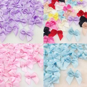 Cute-50-pcs-Lots-Satin-Ribbon-Flowers-Bows-Gift-Craft-Wedding-Decoration-Hot