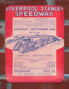Vintage Tin Sign 1940s Liverpool Stanley Speedway Programme Metal Sign Man Cave