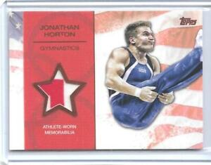 2012-TOPPS-OLYMPIC-JONATHAN-HORTON-BRONZE-2-COLOR-RELIC-CARD-75-GYMNASTICS
