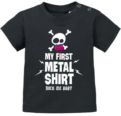 Baby T-Shirt kurzarm Babyshirt My First Metal Shirt Hardrock Heavy Metal Jungen