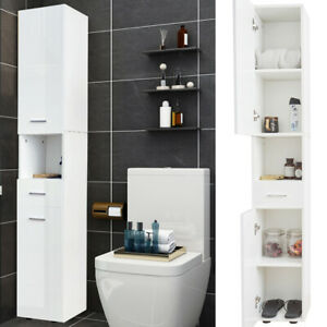 High Gloss Corner Tall Bathroom Cabinet Storage Furniture Unit Thin Cupboard New Ebay