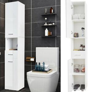High Gloss Corner Tall Bathroom Cabinet Storage Furniture Unit Thin Cupboard New Ebay