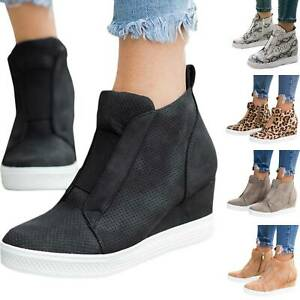 Women-Ankle-Boots-Low-Mid-Heel-Hidden-Wedge-High-Top-Zip-Sneakers-Trainers-Shoes