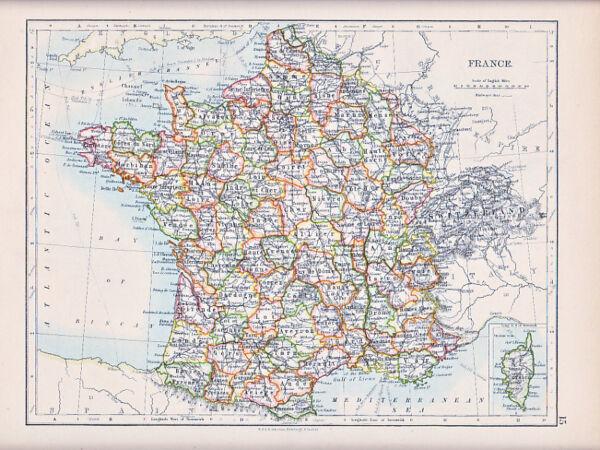 1894 Viktorianisch Landkarte ~frankreich~ Korsika Telegraph Kabel