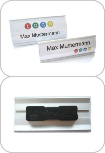 5 x Modisches Namensschild aus eloxiertem Aluminium mit Magnet