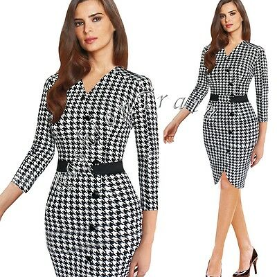 Womens Elegant Houndstooth Tunic Wear To Work Cocktail Party Pencil Sheath Dress