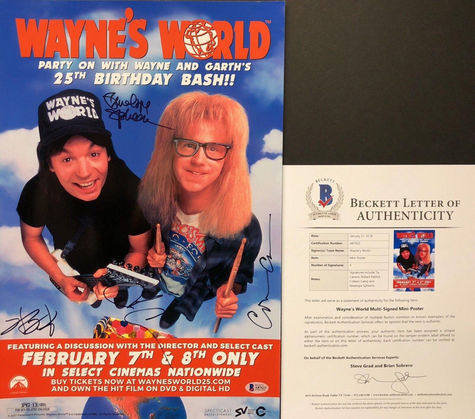 Tia Carrere Robert Patrick/Camp/Spheeris Signed Wayne's World 12x18 Photo BAS