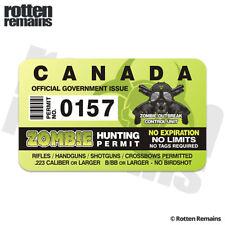 Canada Zombie Hunter Hunting Permit Decal Sticker Canadian Outbreak Unit E3m