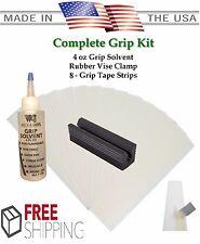 Golf Club GRIP KIT 8 Tape Strips, Solvent, Vise Clamp, Regrip 8 Golf Clubs
