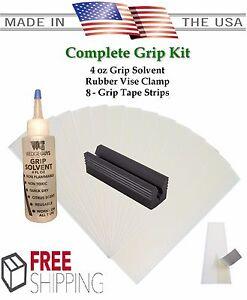 Golf-Club-GRIP-KIT-8-Tape-Strips-Solvent-Vise-Clamp-Regrip-8-Golf-Clubs