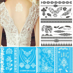 White Black Flower Lace Women Henna Jewelry Temporary Tattoo Sticker