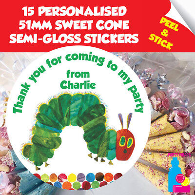 BIRTHDAY PARTY BAGS VERY HUNGRY CATERPILLAR PERSONALISED DIY SWEET CONES KIT
