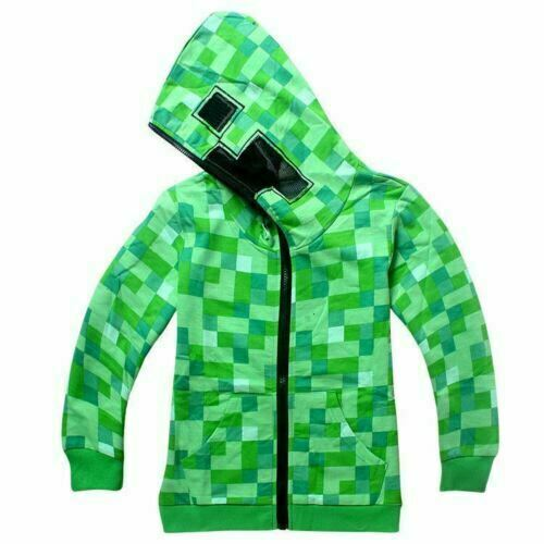 Minecraft Creeper Kids Boys Youth Hoodie Zip Coat Sweater Jacket green Top~