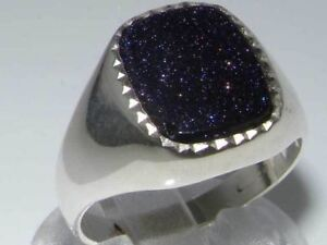 Luxury-Sterling-Silver-Mens-Blue-Goldstone-Signet-Ring