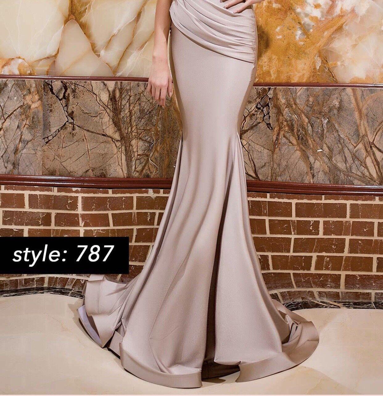 Jessica Angel Dress Style 787- Mauve  bluesh color Long Stretch Satin Dress