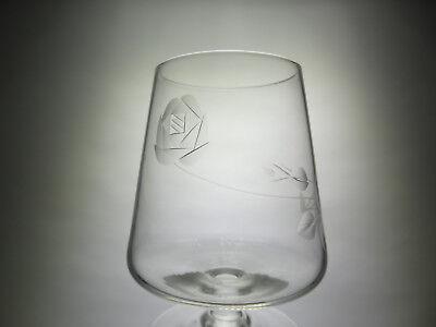 1900-1970 Herzhaft 6x Sherry Branntwein Cognac Glas Art Deco 50s 50er Rose Blume Geschliffen