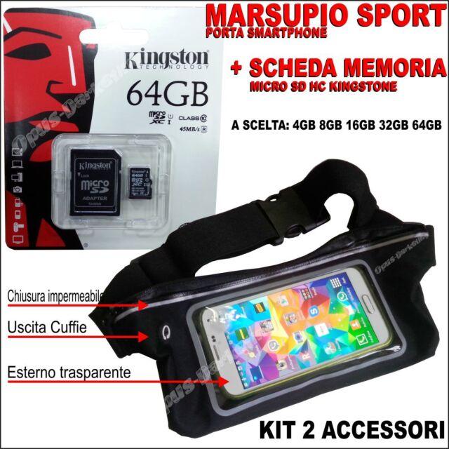 MEMORIA MICRO SD + COVER MARSUPIO IMPERMEABILE PER SAMSUNG GALAXY TREND 2 G313H