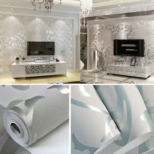 Details About 10m Luxury 3d Flower Flocking Wallpaper Roll For Living Room Bedroom Silver Grey