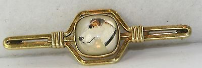VTG KREMENTZ YELLOW GOLD FILLED JACK RUSSELL TERRIER DOG PAINT UNDER GLASS PIN