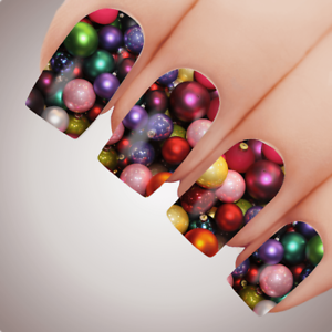 MYSTICAL-RAINBOW-BAUBLES-Christmas-Nail-Decal-Water-Transfer-Xmas-Sticker-Tattoo