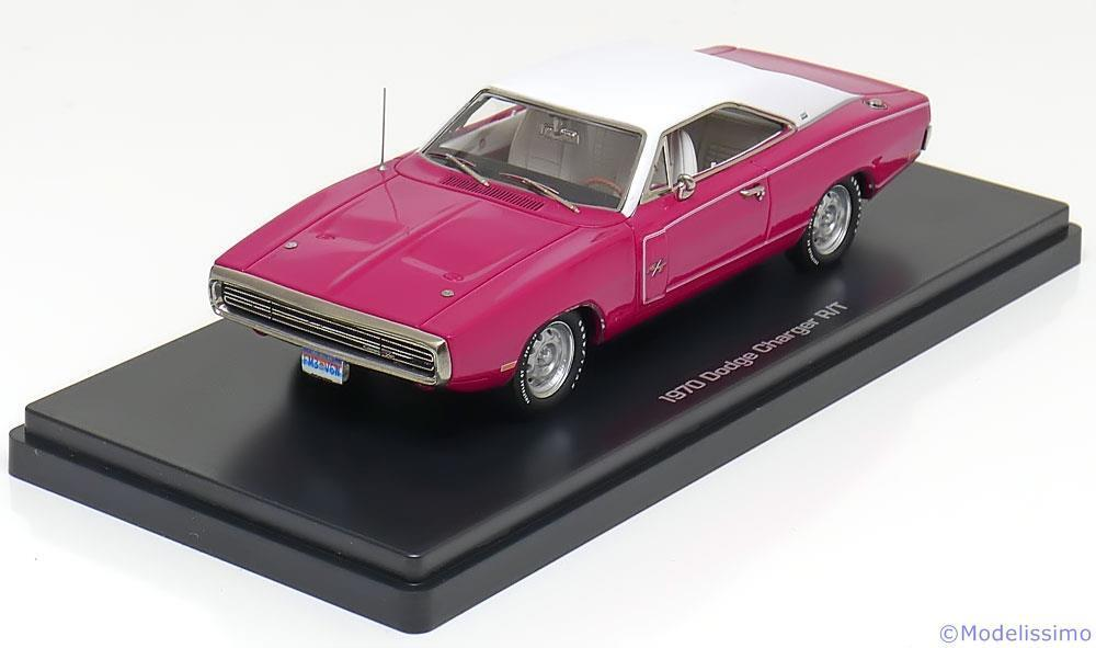 Dodge charger r t 1970 pink white ertl autoworld 1140 06 1 43 usa car resin