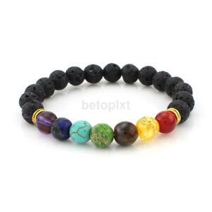7 Chakra Healing Balance Beaded Bracelet Lava Yoga Reiki Prayer Xams Stone Gift!
