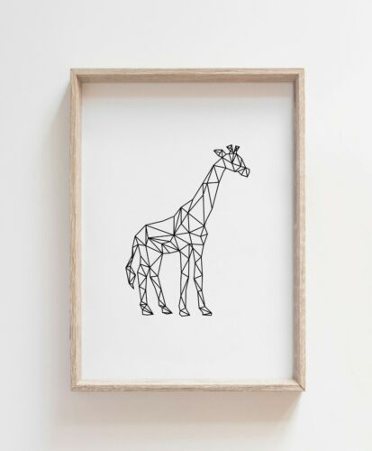 Geometric giraffe Living Room Print  Poster Home Quote Modern Art *3 For 2 Deal*