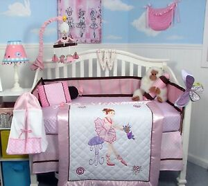PINK CRIB BEDDING SET LITTLE BALLERINA Infant Baby Nursery 13 Pc Quilt Bumper+