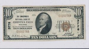 RC0243-1929-national-currency-Chippewa-Falls-10-chart-3778-combine-shipping