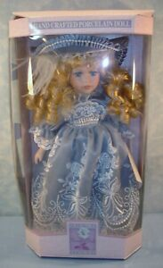 Collectible-Memories-Blue-Embroidered-Victorian-Porcelain-Doll-New-in-Box