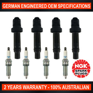 4x-Genuine-NGK-Spark-Plugs-amp-4x-Ignition-Coil-for-Hyundai-i20-i30-Accent-Kia-Rio