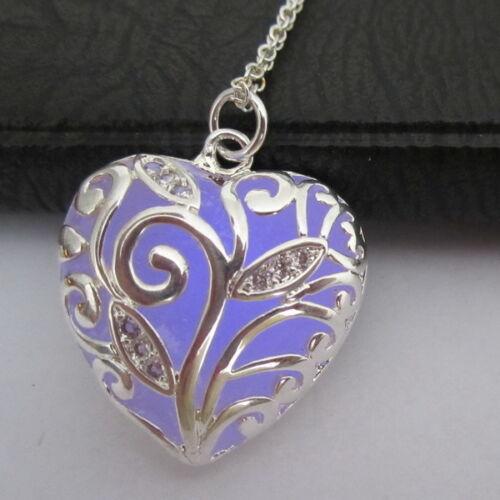 Novelty Christmas Gift Fairy Heart Locket Glow In The Dark Pendant Necklace Girl