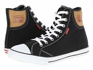 Men-Levi-039-s-Shoes-Hamilton-Hi-Top-Canvas-Blk-Blk-Mono-Navy-Red-New