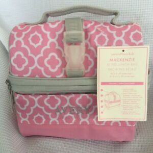 Pottery Barn Kids Mackenzie Pink Gray Geo Retro Lunch Bag